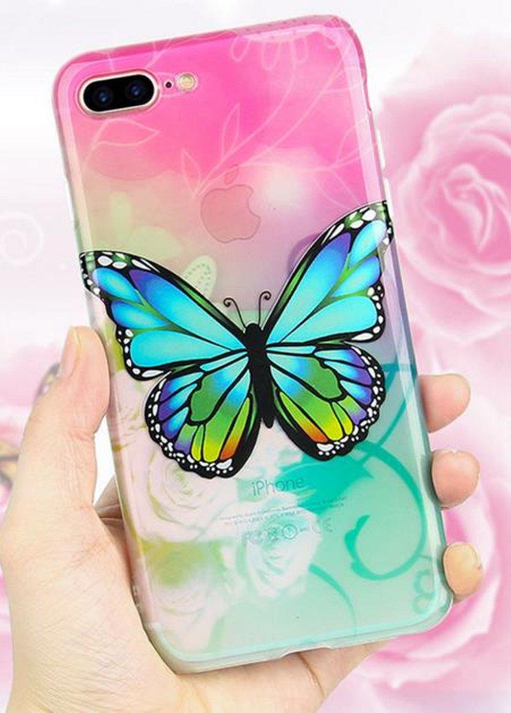 iPhone 6 Plusカラフルバタフライケース、Inspirationcソフトスリムシリコン傷防止耐衝撃Tpu Armorラバーケースカバーfor iPhone 6 Plus / 6s Plus 5.5インチ iPhone 7[4.7 Inch] B06WWBVK6D iPhone 7[4.7 Inch]|ローズレッド ローズレッド iPhone 7[4.7 Inch]