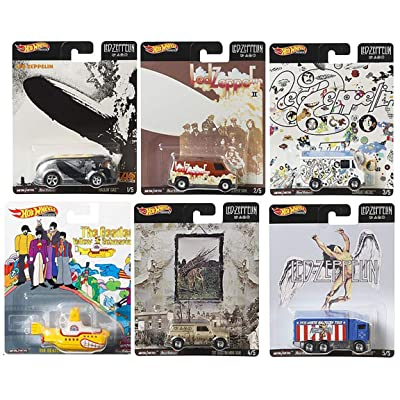 Hot Wheels Stairway to Heaven Led Zeppelin Album Pop Culture Cars Bundled with Beatles Yellow Submarine + Austin Mini / Tour Bus / Whole Lotta Love / Trippy Van 6-Cars: Toys & Games