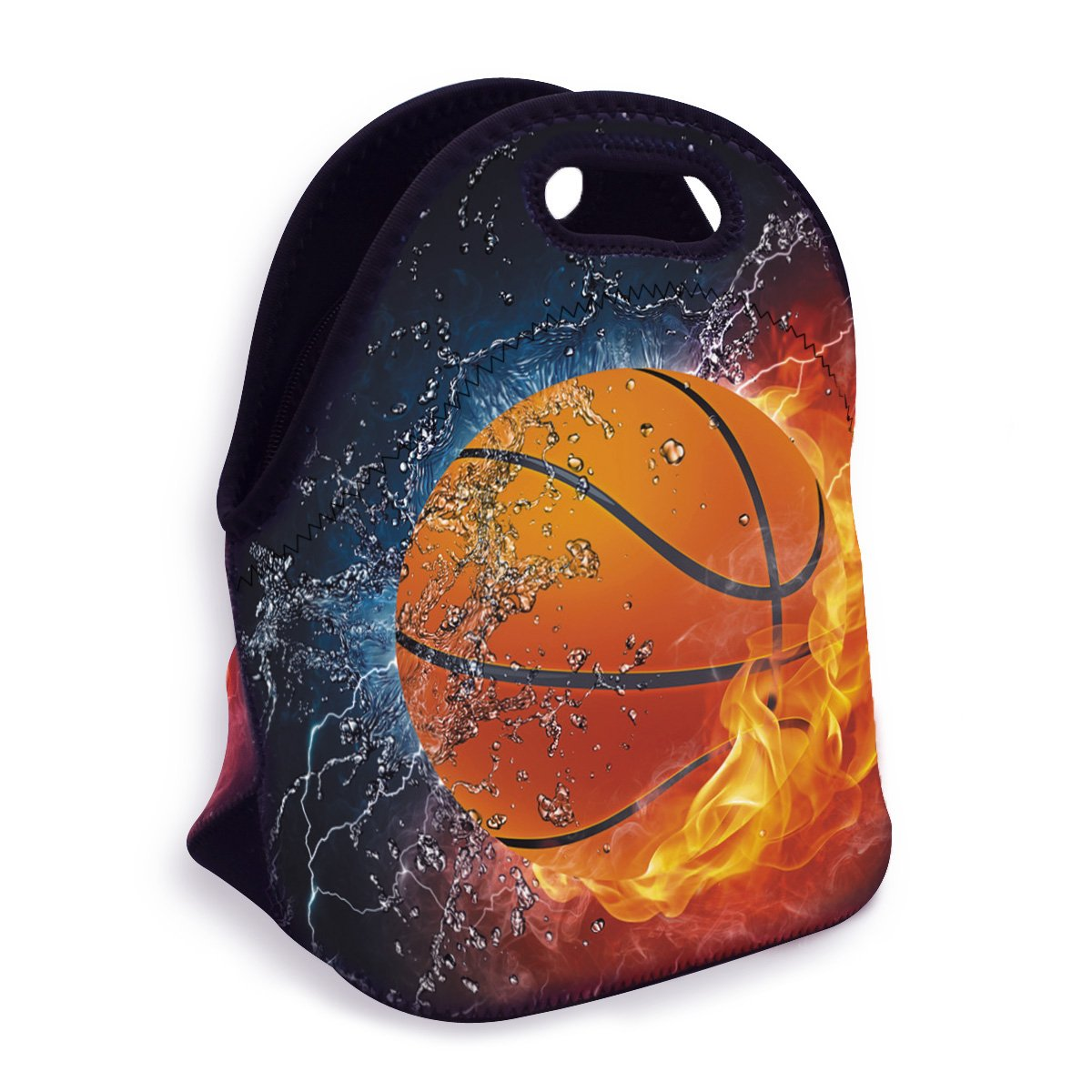 VIPbuy Water-resistant Neoprene Thermal Insulated Lunch Box Bag Tote Zippered for Men Kids Boys School Work Outdoor, Basketball Fan Novelty Gift