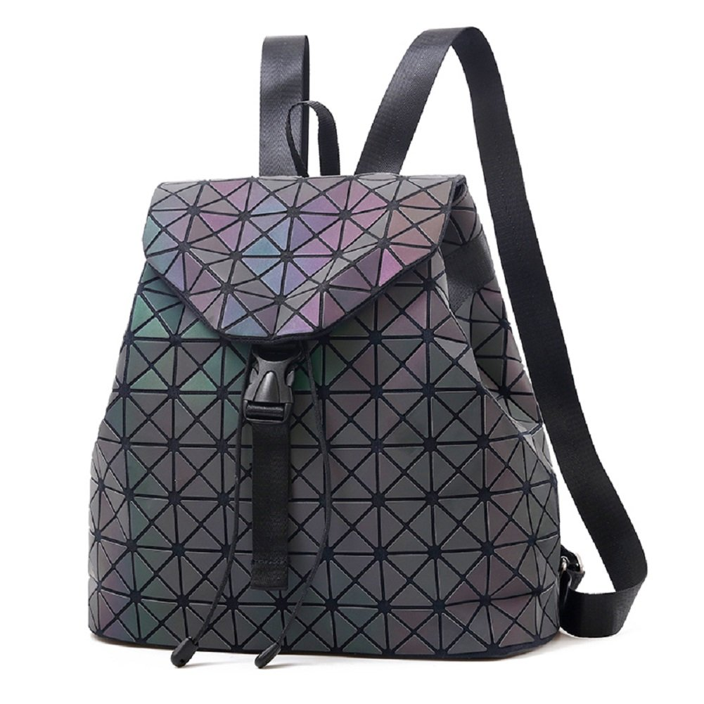 c94fd8a05 Geometric Backpack Fashion Backpacks Shard Lattice Luminous Bag Holographic  Reflective Travel Rucksack NO.1