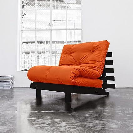 Moonilis Natural colchones Juego de Naranja de algodón Futon colchón wengué farbene Marco de Madera Estructura