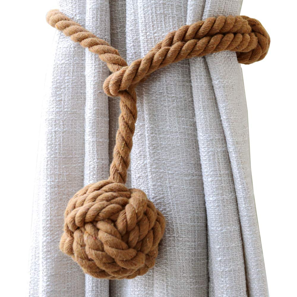 Decorative Hand Knitting Drape Tie Backs Cotton Rope for Sheer and Blackout Curtain Set of 2, Beige Outdoor Curtain Drapery Holdbacks Holders JQWUPUP 2 Pack Rustic Curtain Tiebacks