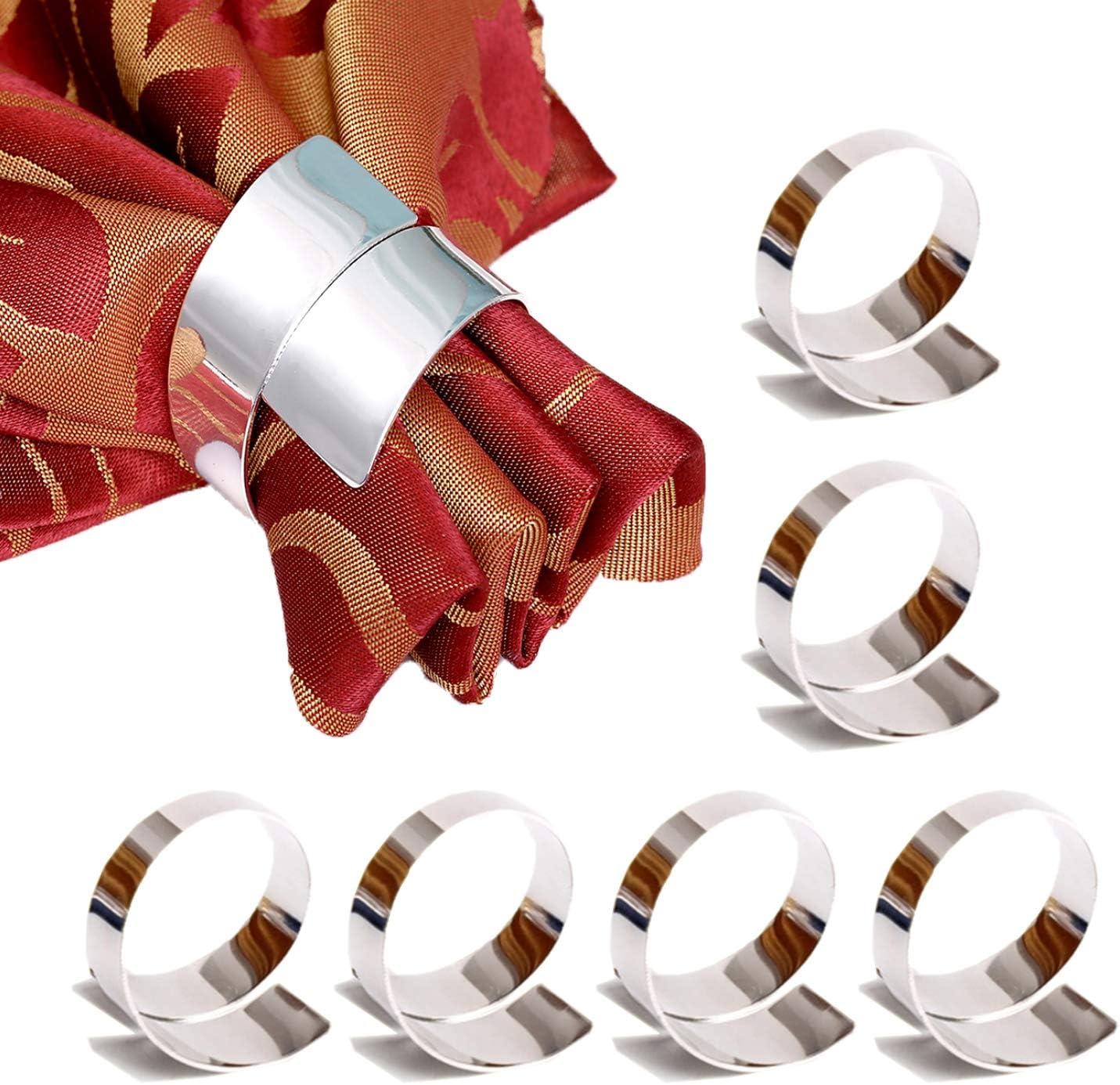 Getfitsoo Napkin Ring,Napkin Holder for Wedding Christmas Party Dinner Table Decor 6 Pcs (Geometric Silver Circle)