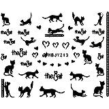 ネイルシール ねこ 猫 黒猫 クロネコ 選べる12種類 (ブラックNB, 02)