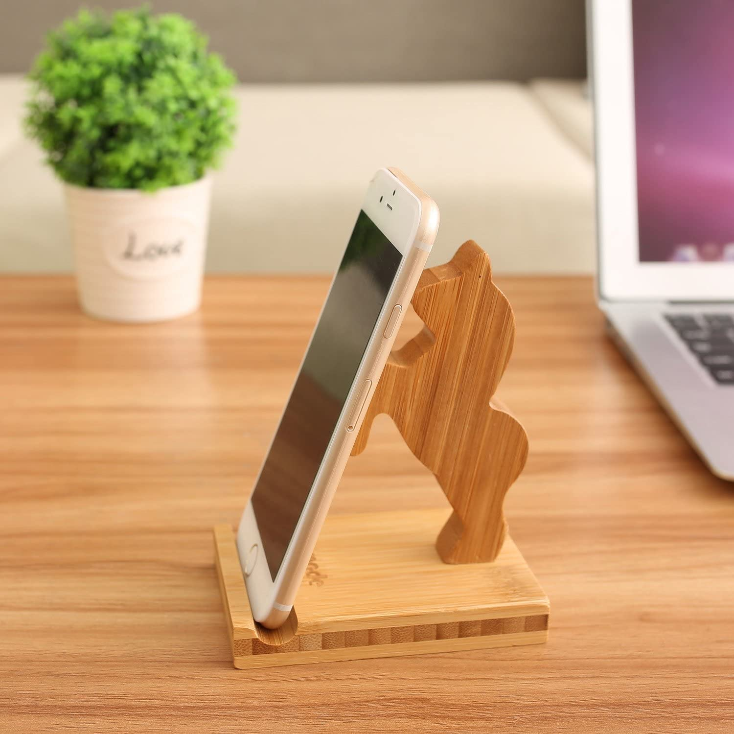 Bamboo Wood Phone Holder and Cute Phone Stand Compatible with iPhone 11 Pro X Plus 8 7 6 Kung fu Ipad and Tablets Bamboo Desk Organizer Accessories Homode Cell Phone Stand