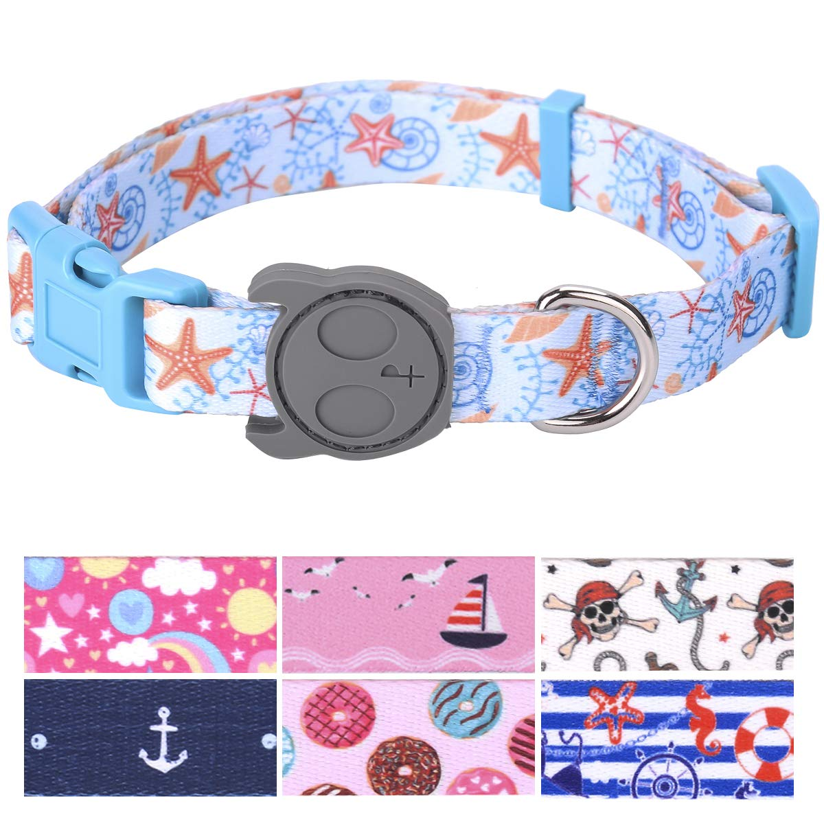 Large PetANTastic Best Adjustable Large Dog Collar Durable Soft & Heavy Duty with Cool Summer Beach Design, Outdoor & Indoor use Comfort Dog Collar for Girls, Boys, Puppy, Adults