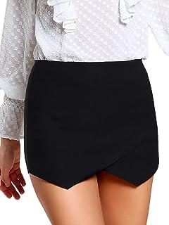 28b4850dd4 SheIn Women's Asymetric Hem Tulip Plain Mid Waist Tulip Skorts Skirt Shorts