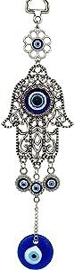 Turkish Blue Evil Eye Hamsa Hand Hanging Amulet Decor ( witha Bag) (Silver)