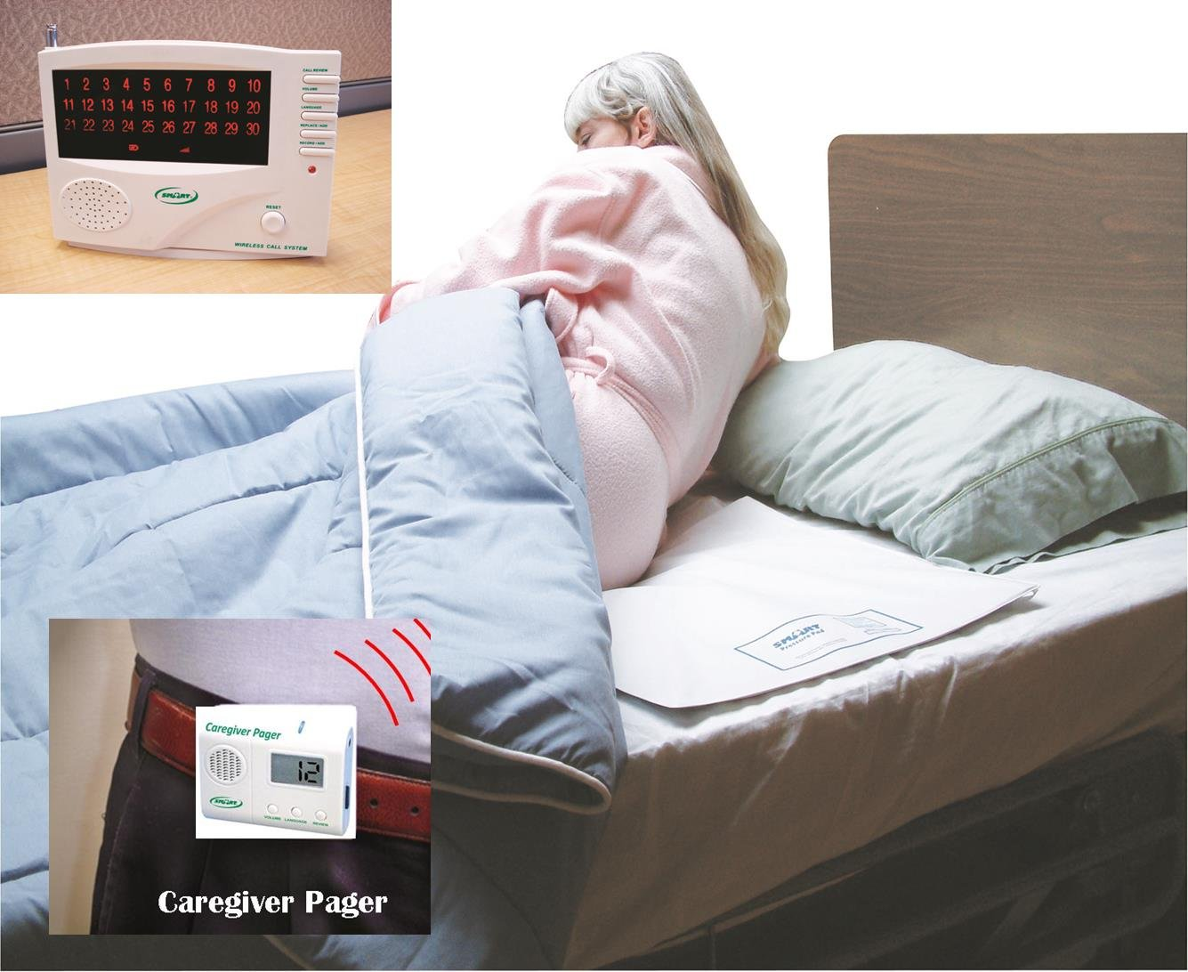 Cordless/Wireless Bed Alarm System with Pager - 20'' x 30'' Pad