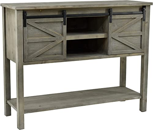 eHemco Farmhouse Console Table with Sliding Barn Doors and Bottom Shelf, Grey