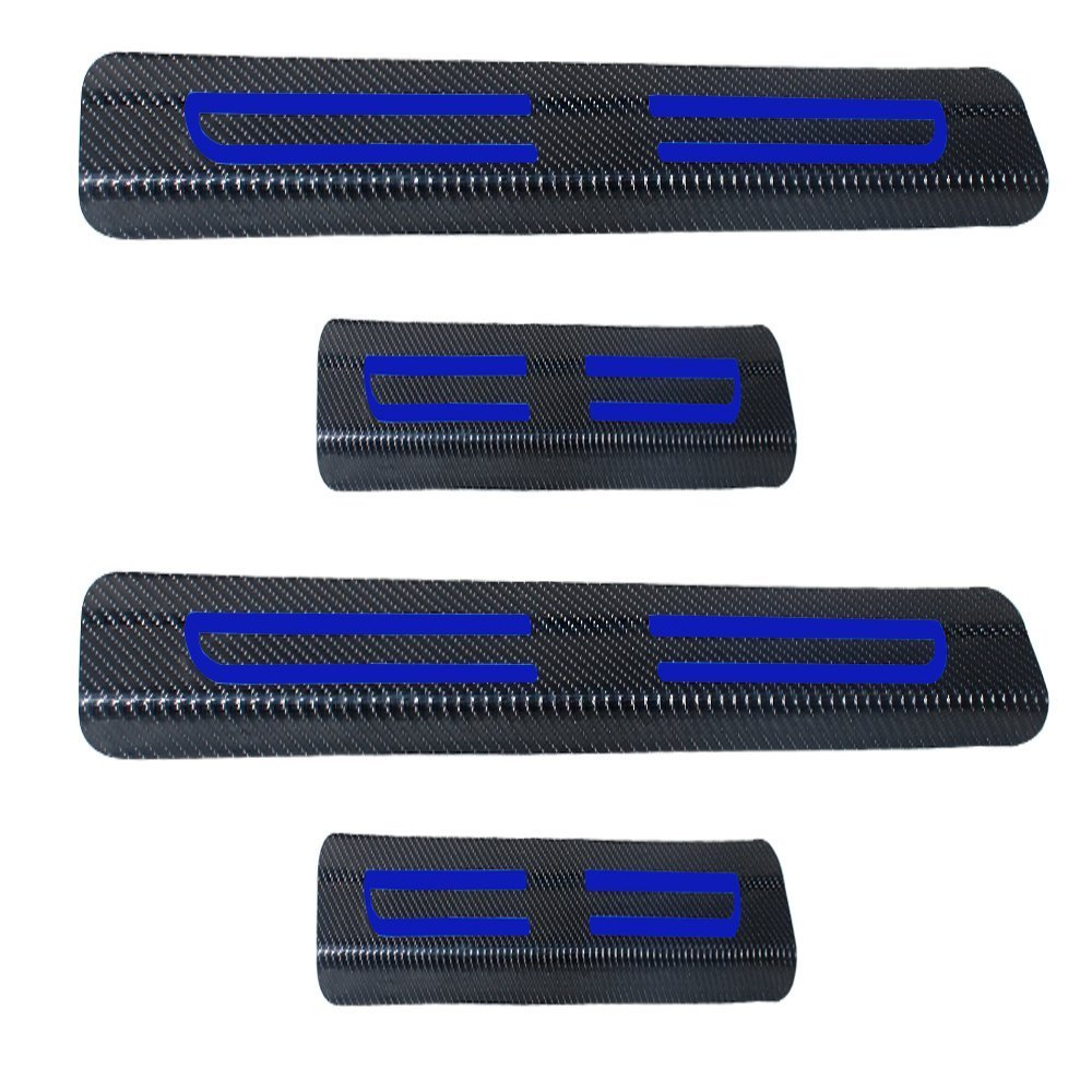 Carbon Fiber Stickers Car Door Sill Scuff Plate Guard Entry Door Guard Sills+Blue High Intensity Reflective Tape for GMC Sierra Yukon Cadillac Chevrolet Silverado Colorado M3N32337100 13577770 4pcs 8X-SPEED 53030