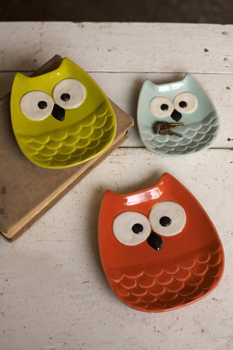 Set of 3 Owl Plates