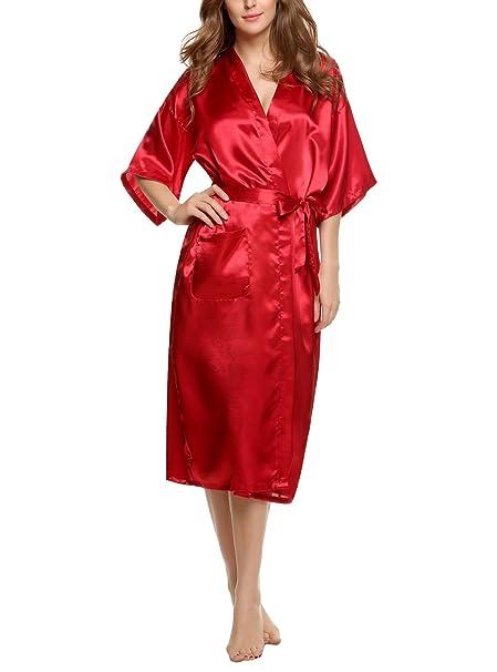 Keland Bata de Satén de Mujer Camisón Larga con Cinturón Manga Corta de Estilo kimono para Dormir: Amazon.es: Ropa y accesorios