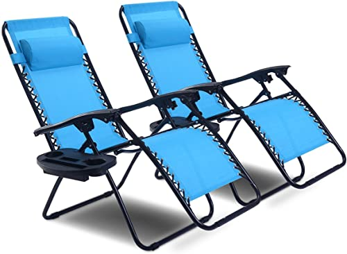 Goplus Zero Gravity Chair Set 2 Pack Adjustable Folding Lounge Recliners