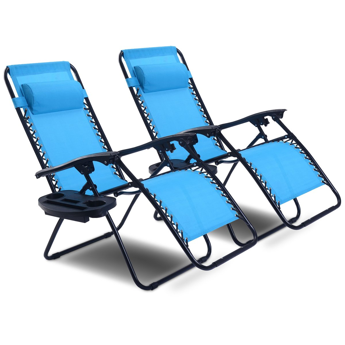 Goplus 2PC Zero Gravity Chairs Lounge Patio Folding Recliner Outdoor Yard Beach with Cup Holder Superbuy