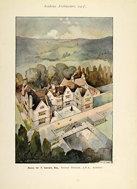 1913 country house home ernest newton architect print original