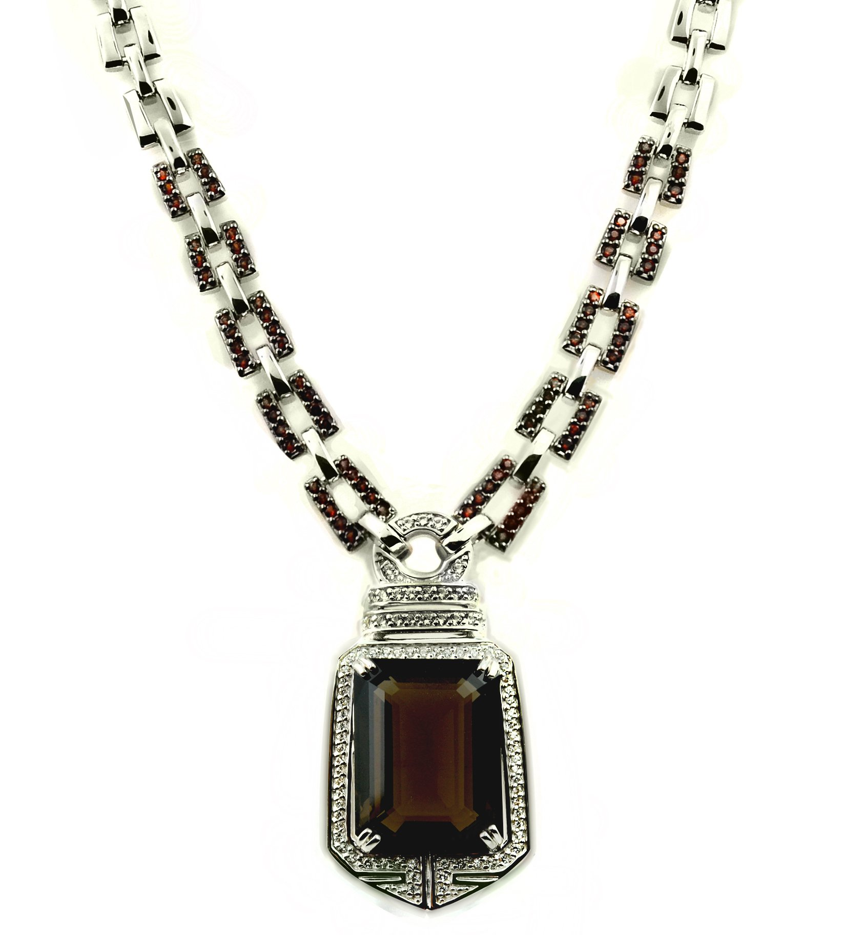 RB Gems Sterling Silver 925 STATEMENT Pendant Necklace GENUINE GEMSTONE 24 mm with RHODIUM-PLATED Finish (smoky-quartz)