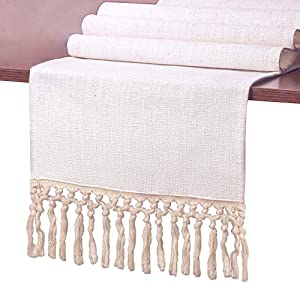 SevenFish Farmhouse Table Runner Natural Cotton Woven Boho Table Runner with Tassels for Bohemian Wedding Party Holiday Home Dining Table Decor 12 x 108 inch