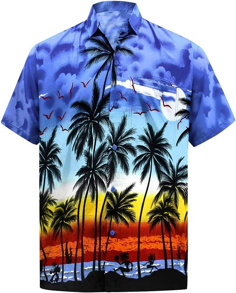 EELa Mens Printed Floral Flower Palm Leaf Parrot Short Sleeve Casual Button Down Shirt Summer Aloha Hawaiian M