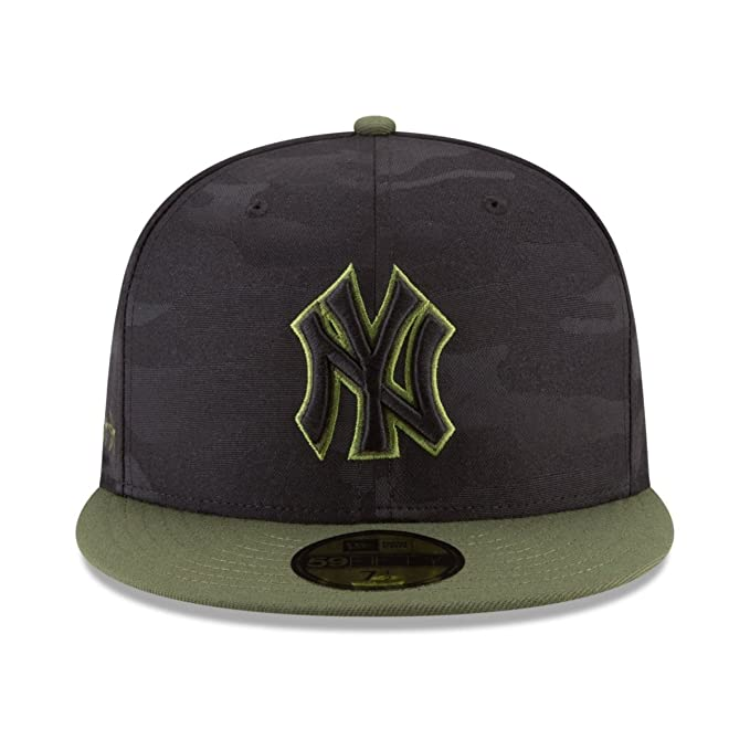 Amazon.com  New Era New York Yankees 2018 Memorial Day On-Field 59FIFTY  Fitted Hat – Black Olive (7 1 8)  Clothing 3653c8013ca3