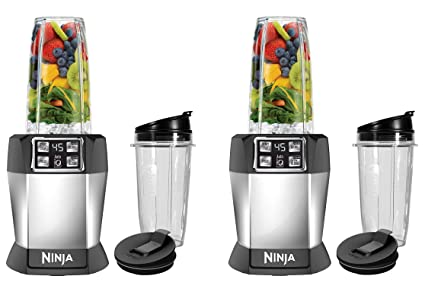 Ninja BL480D Nutri Ninja with 1000 Watt Auto-IQ Base for Juices, Shakes & Smoothies Personal Blender 18 and 24 oz. Black/Silver (Twо Расk)