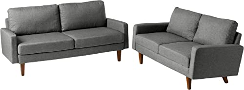 Container Furniture Direct Squared Mid Century Modern Upholstered 2 Piece Living Room Sofa Set, Light Gray,