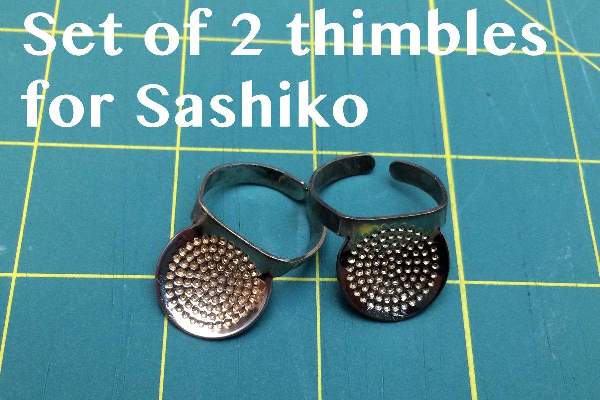 A set of 2 Sashiko Round-Shape Thimble by Nihon Chuko