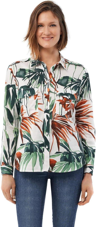 Salsa Camisa fit Regular con Estampado de Hojas: Amazon.es: Ropa y accesorios