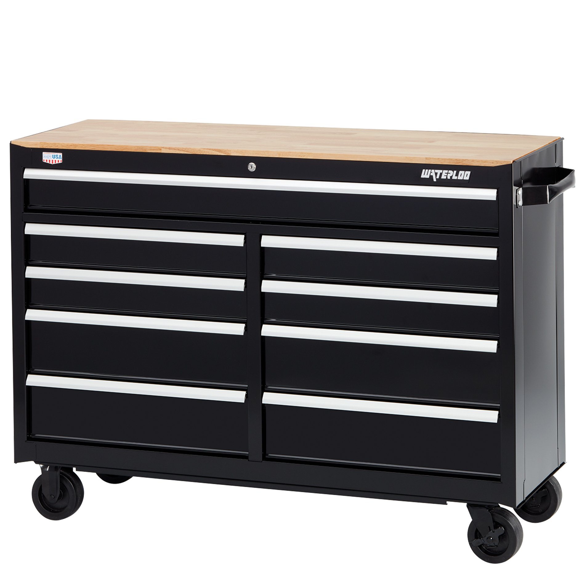 Waterloo W300 Series 9-Drawer Mobile Workbench with Butcher Block Work Surface, 52''