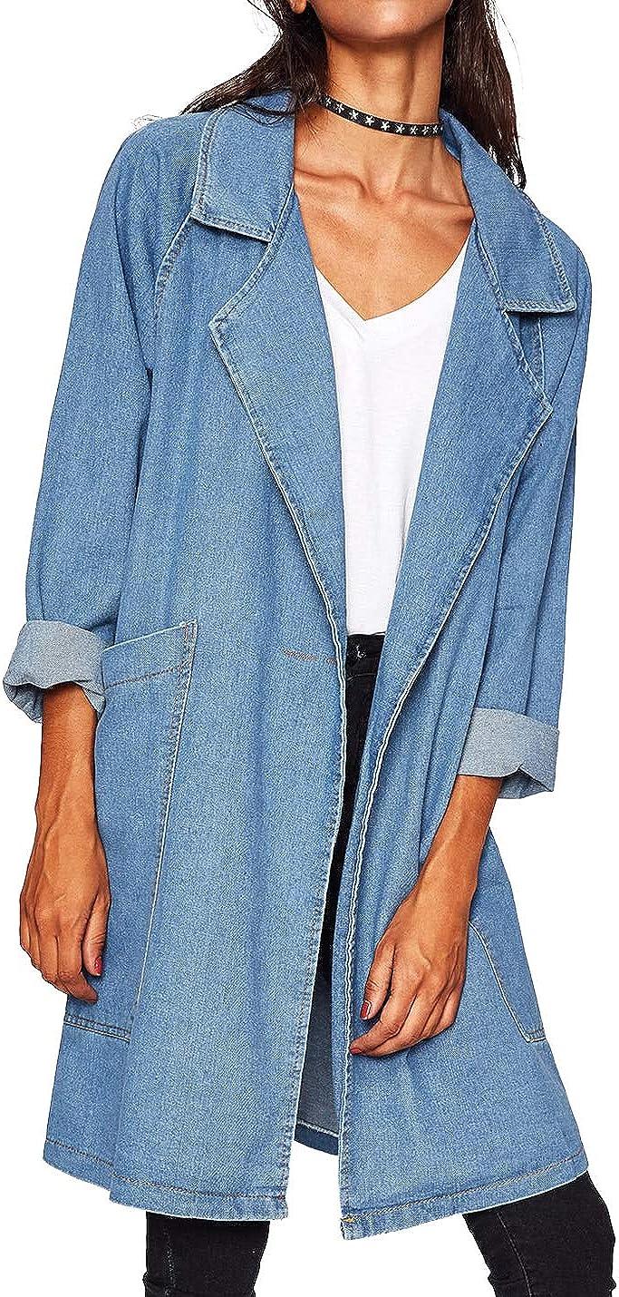Jenkoon Womens Long Denim Jacket Notch Lapel Jean Coat Outwear Windbreaker