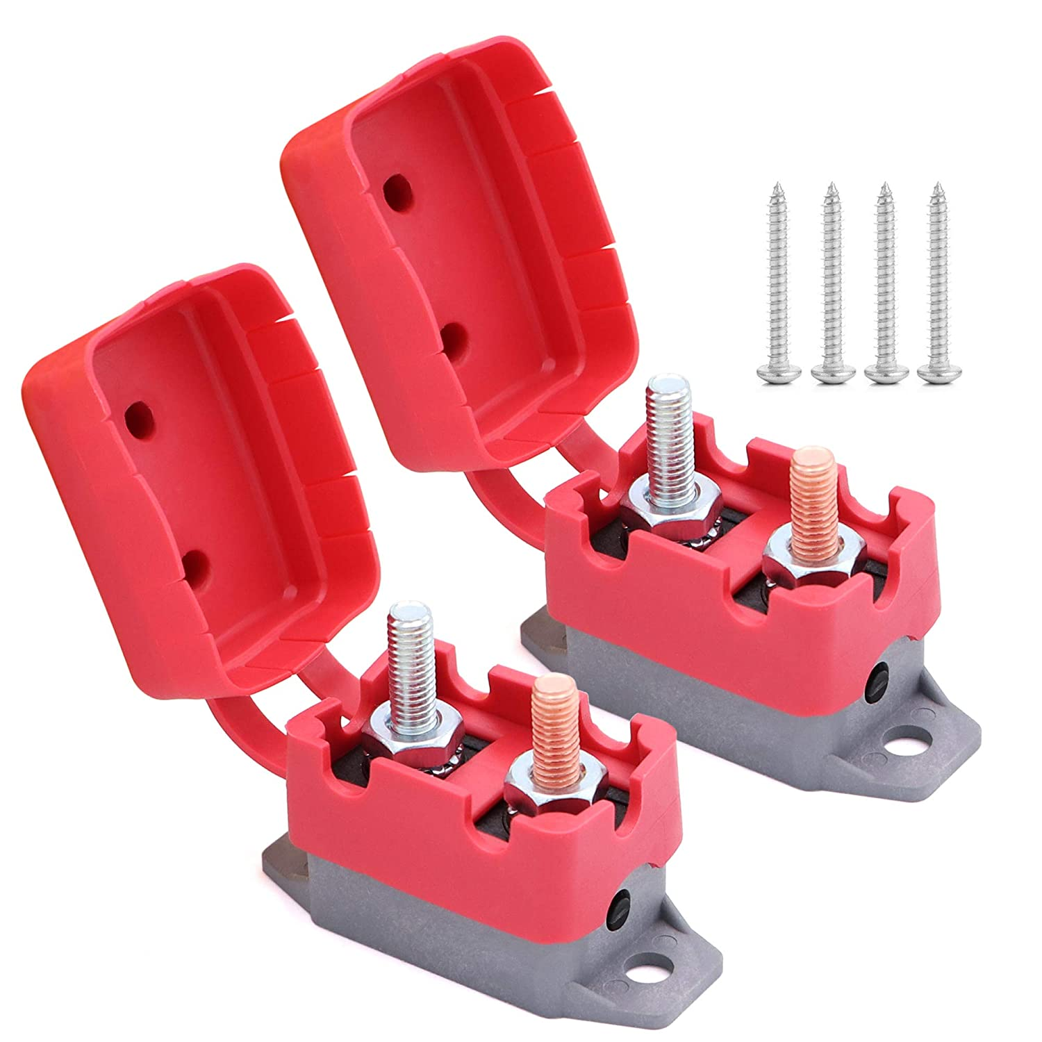 buses trucks etc electric cars 2pcs 12V//24V 10A Automatic Reset Circuit Breaker with Cover Stud Bolt Type for battery chargers car engines