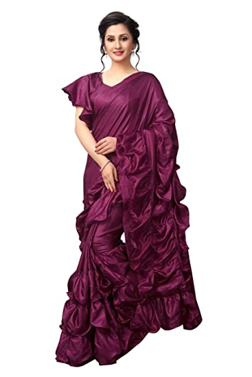 64714d81060ce2 Crazy Women Silk Ruffle Saree with Blouse (Purple)  Amazon.in  Clothing    Accessories