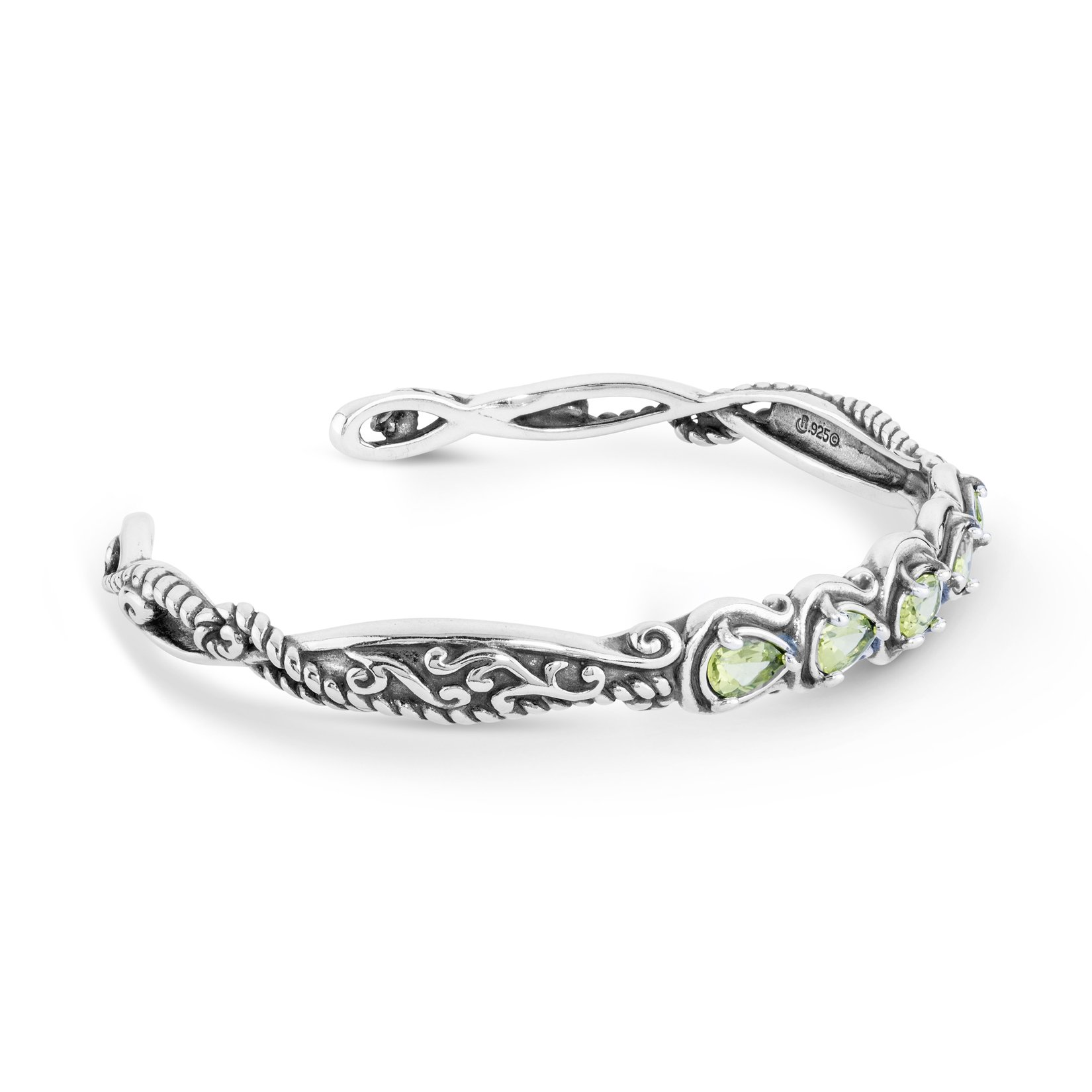 Simply Fabulous Sterling Silver & Faceted Peridot Five Stone Cuff Bracelet- Large - Simply Fabulous Collection