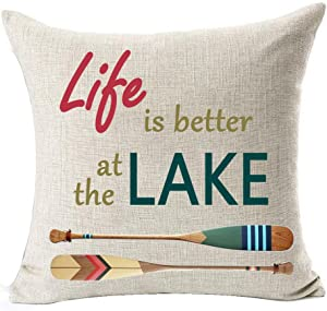 """Retro Wooden Saying Life is Better at The Lake Ferry Paddle Cotton Linen Square Throw Waist Pillow Case Decorative Cushion Cover Pillowcase Sofa 18""""x 18"""" (18x18 inches, 1)"""