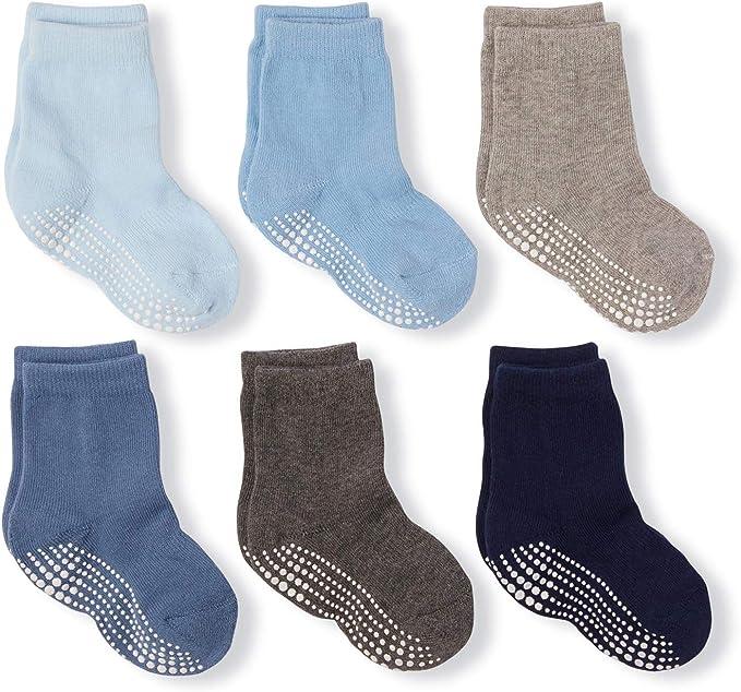 Baby Cotton Socks Lot de 6 Paires de Chaussettes antid/érapantes en Coton color/é pour b/éb/é gar/çon et Fille