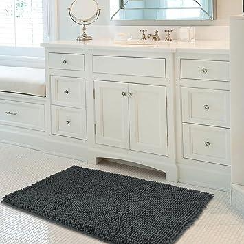 Mayshine 24x39 Inch Non Slip Bathroom Rug Shag Shower Mat Machine Washable  Bath Mats