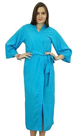 Bimba Frauen Lange Vollgurt Robe Soft-Modal Cotton Wrap-Runde Plain  Bademantel