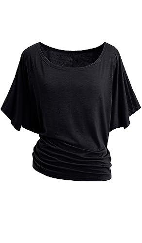 HOMEYEE Camiseta de Manga Larga con Cuello Redondo de Manga Corta para Mujer 157
