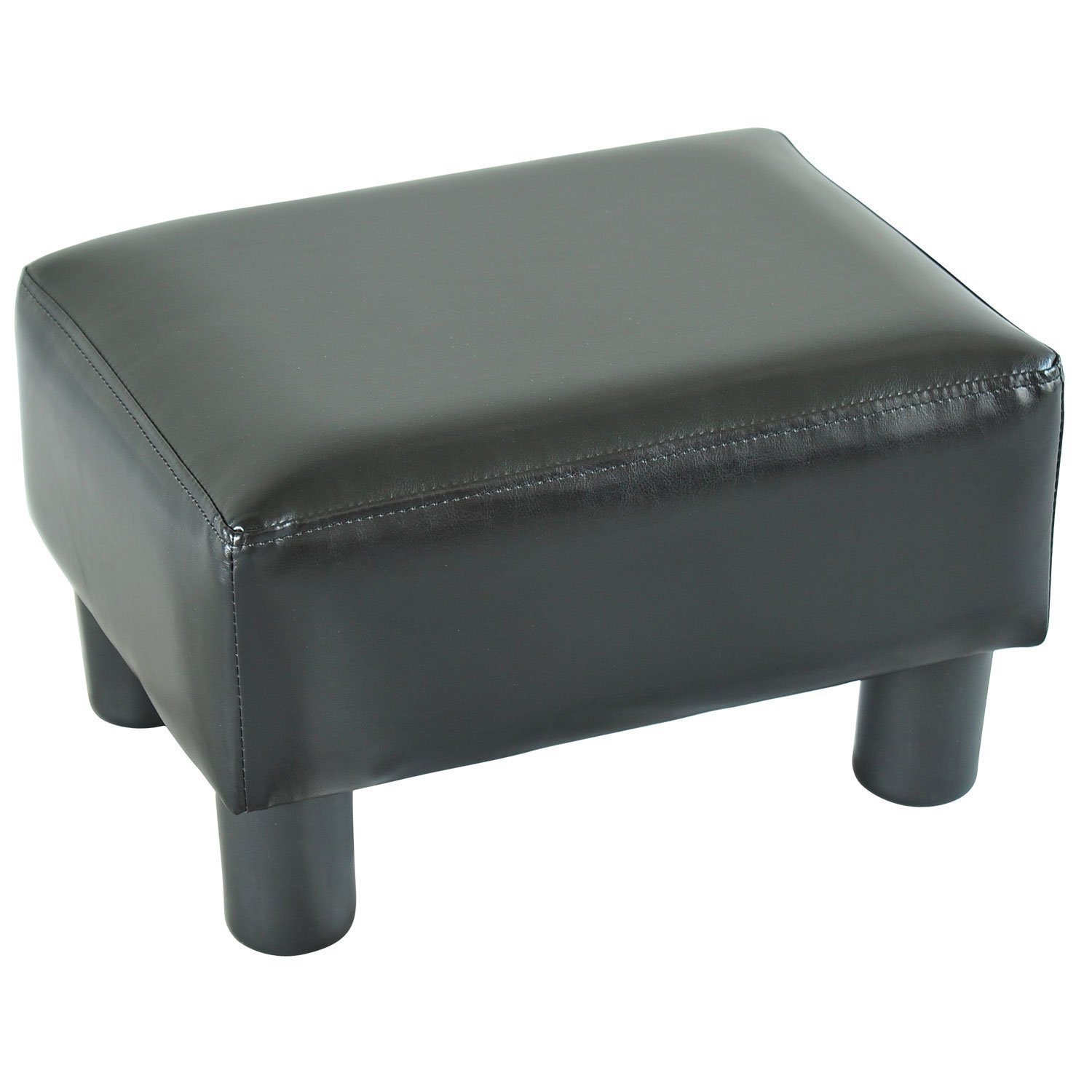 HOMCOM PU Leather Ottoman Footstool Footrest Small Seat Foot Rest Chair (Black)