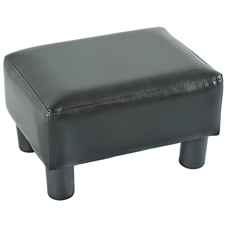 Astonishing Homcom Pu Leather Ottoman Footstool Footrest Small Seat Foot Rest Chair Black Andrewgaddart Wooden Chair Designs For Living Room Andrewgaddartcom