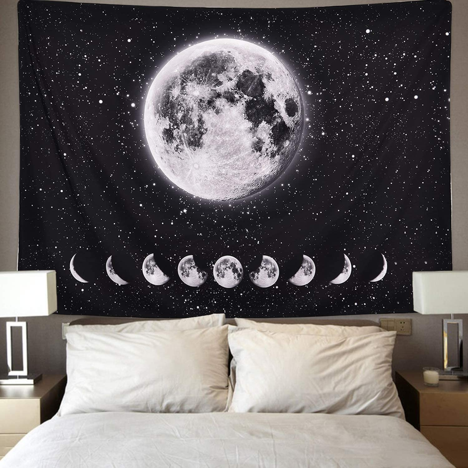 Galaxy Night Sky Tapestry Starry Space Tapestry Universe Stars Sky Tapestry Planet Tapestry for Living Room Bedroom Moon Lunar Eclipse Tapestry