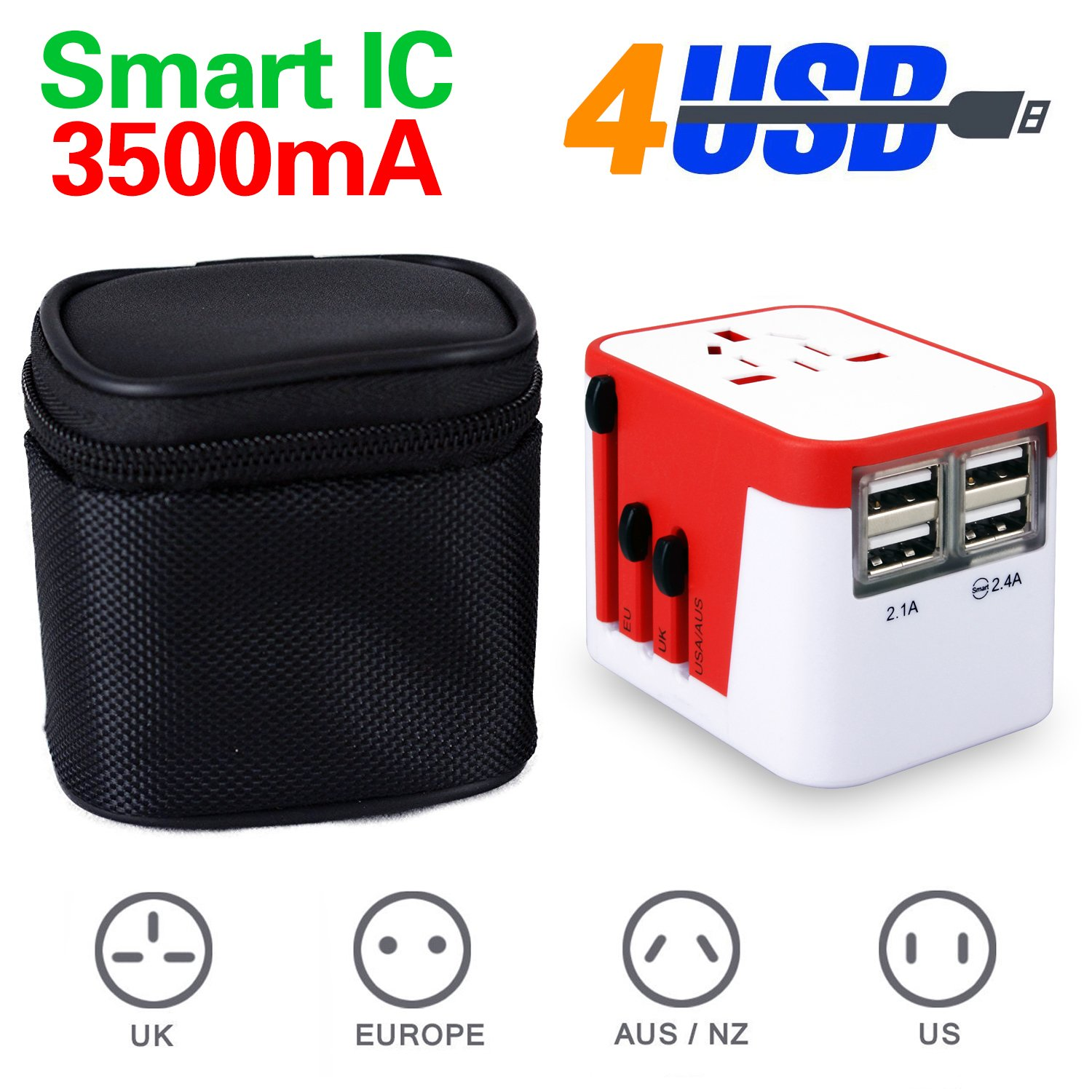 Universal World Travel Adapter Kit, All in One 4 USB Worldwide Charger - UK, US, AU, Europe Plug & Converter - Over 150 Countries & USB Power Adapter for iPhone, Android, All USB Devices Surge Protection (blue) Shenzhen Jinsheng Technology Co. Ltd.