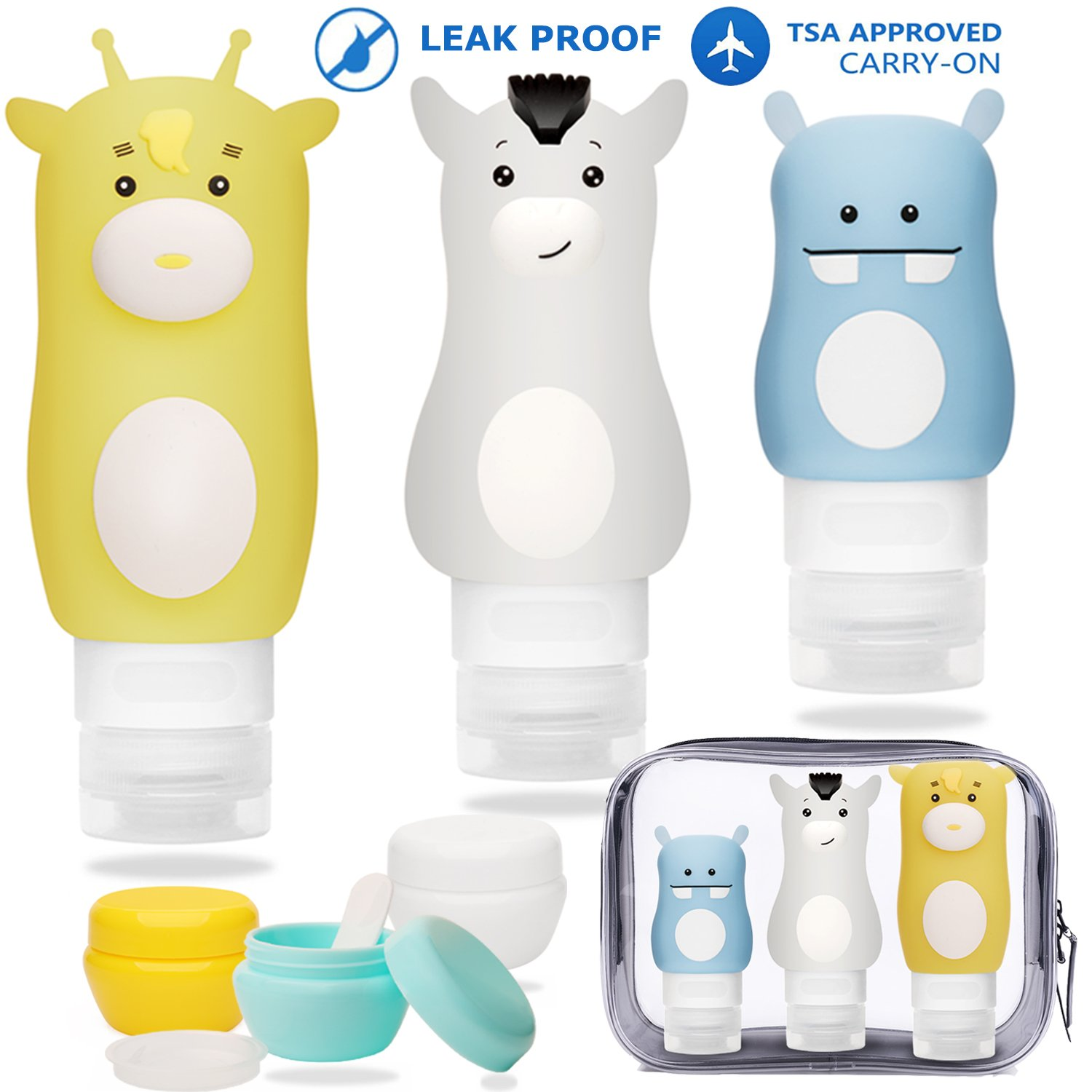 Portable Silicone Travel Bottles Set Leakproof Cosmetic Containers Refillable for Conditioner Lotion Body Wash Sunscreen Toiletries TSA Approved Cream Jar Included