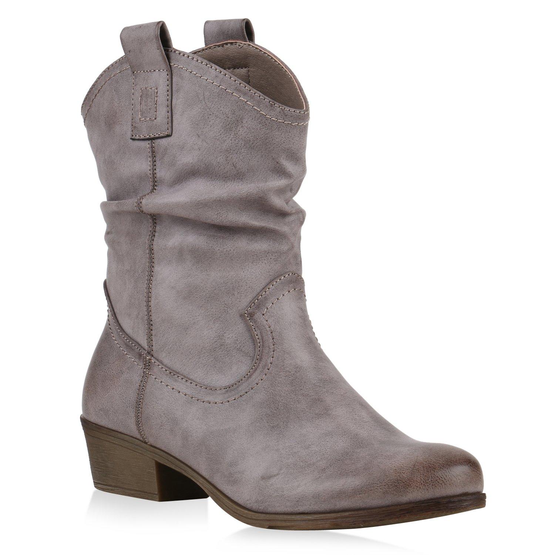 Stiefelparadies Damen Stiefeletten Cowboy Boots mit Blockabsatz Flandell Hellgrau