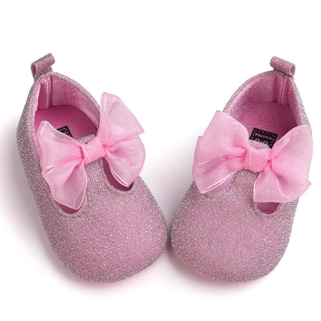 11 First Walking Shoes Baby Girls Longra/® New Born Baby Girls Bowknot Decoration Anti-slip Sole Baby Shoes , Black 0~6 Month