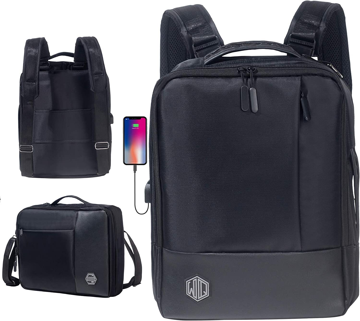 Laptop Backpack By Widely Quality - Convertible Backpack and Briefcase for Men - Waterproof Travel Bag with USB Port - Black Leather Slim Messenger For Him - Fits 15.6' Laptop