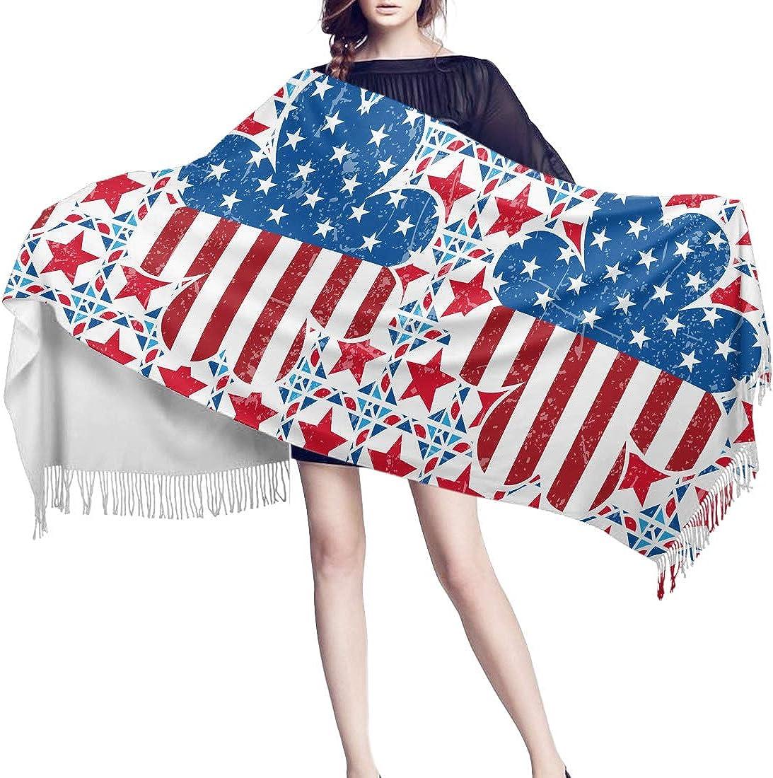 Patricks US Flag Cashmere Feel Scarves with Tassels for Men Women St