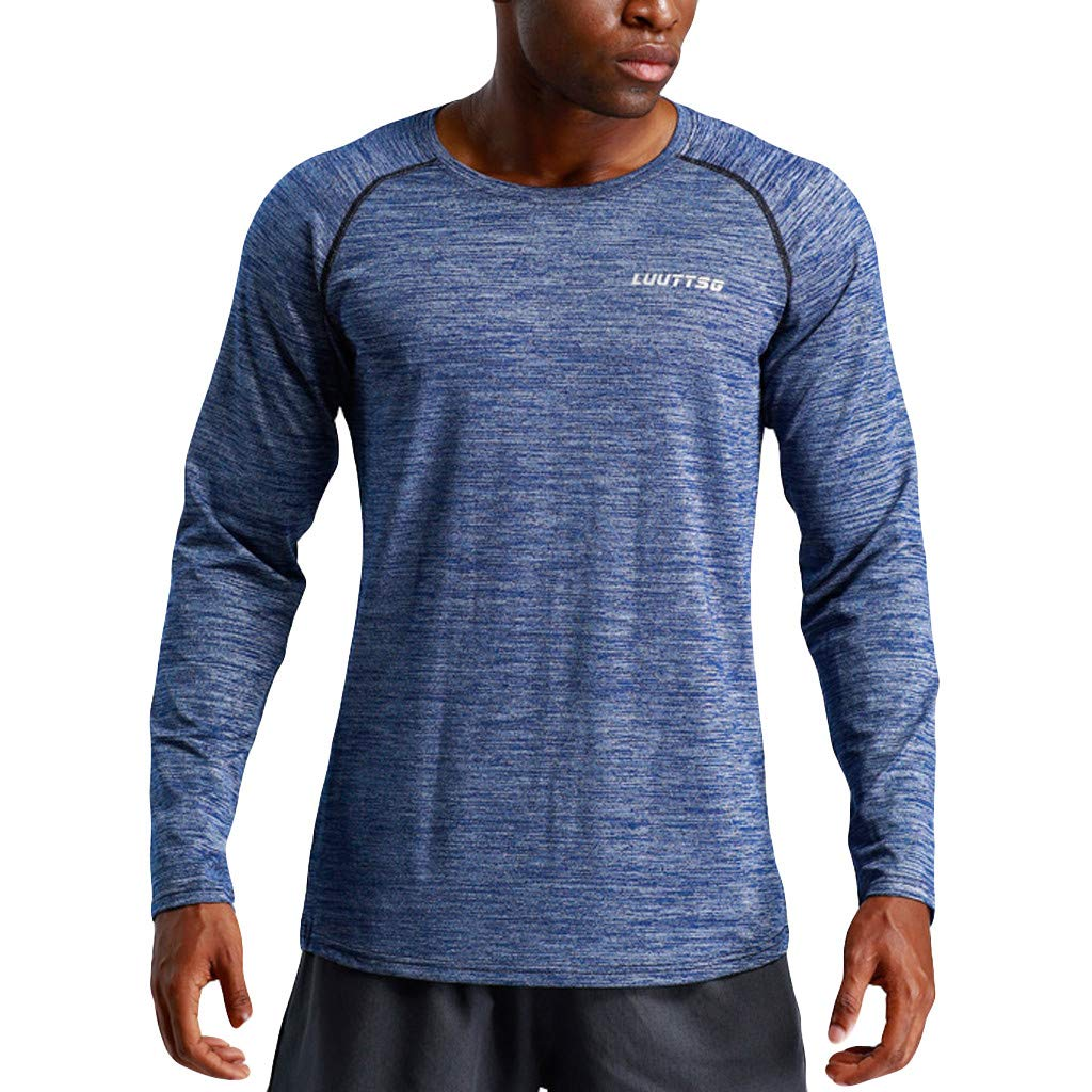Mens Long Sleeve Shirt Active Running Training Fitness Workout Outdoor Sport Base Layer Tops Blouse Pullover
