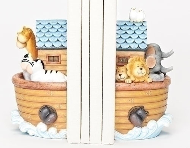Roman Set of 2 Decorative Noah's Ark Children's Bedroom Religious Bookends 6.5''