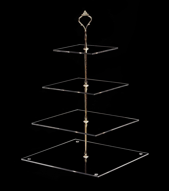 YestBuy 3 Tier Handle Acrylic Cupcake Stand (3 Tier Round (Golden Crown)) Yest Baking Ltd HX-9KW-9LAX
